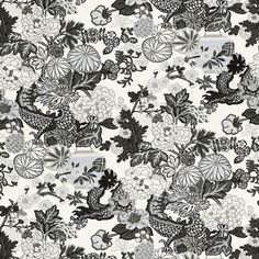 Chiang Mai Dragon | 173276 in Smoke | Schumacher Fabric |  An instant hit from the moment we introduced it, this is one of our best-loved designs. The chinoiserie motif was inspired by an Art Deco print. Also available as a wallcovering.