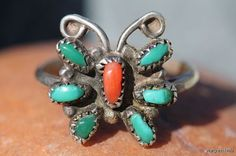 Vintage 1970's Sterling Silver Navajo Turquoise Coral Butterfly Ring Southwestern Petit Point