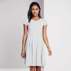 Pleated Waist Dress - Silver Grey Marl   The White Company