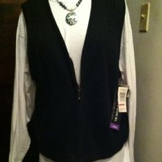 Sag Harbor Black Sweater Vest Sz L Black cotton/ramie black sweater vest with zipper. Bought on sale and never worn -tags are still on. Great for layering or professional look with a jacket , not heavy -size large. Sag Harbor Tops