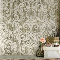 East Urban Home This Mara x Metallic Finish Wallpaper Roll is a simple damask brought to life using a combination of high shine and matte detail give the wallpaper a quality effect with a distressed print to bring the damask together. Metallic Wallpaper, Luxury Wallpaper, Embossed Wallpaper, Star Wallpaper, Damask Wallpaper, Contemporary Wallpaper, Wall Wallpaper, Wallpaper Ideas, Designer Wallpaper Brands