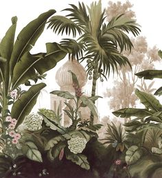 Just look at the beautiful palette here the vibes of the tropics is so apparent also that painterly aesthetic is pretty neat no? Mural Art, Wall Murals, Wall Art, Chinoiserie, Cochin, Tropical Art, Designer Wallpaper, Botanical Prints, Abstract