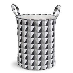 GRAPHIQUE fabric laundry basket in black & white