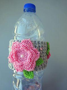 Bottle cozy bottle cover bottle sleeve with flower applique