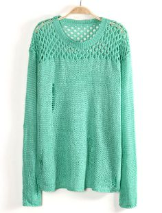 Green Contrast Hollow Long Sleeve Knit Sweater US$31.80
