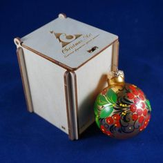 Christmas ball 6 cm Russian folk art 'Khokhloma' от ChristmasArtCo