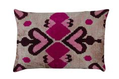 Ikat Pillows, Pillow Fabric, Ikat Fabric, Velvet Pillows, Cushions, Pink Black, Orange Pink, Blue Yellow, Bohemian Pillows