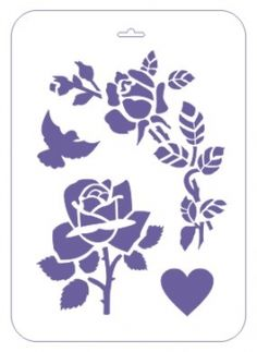 """Трафарет пластиковый многоразовый, 31х21 см, """"Розы и голубь"""""""
