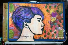 I definitely love the hair.  And I did create a background from that really cool gelli plate print: