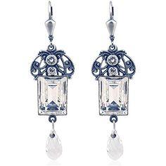 Jugendstil Ohrringe mit Kristallen von Swarovski® Damen - Silber Viele  Farben - NOBEL SCHMUCK (Crystal)  Amazon.de  Schmuck 3d3db4b0942