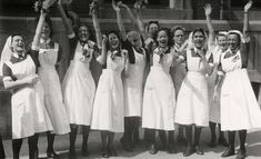 A group of Dutch nurses waving at Canadian liberators, 1945. #vintage #1940s #nurses #WW2