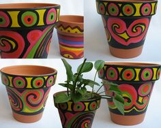 Andrea Cantore . stock: macetas Flower Pot Art, Flower Pot Design, Flower Pot Crafts, Clay Pot Crafts, Ceramic Pots, Terracotta Pots, Clay Pots, Painted Plant Pots, Painted Flower Pots
