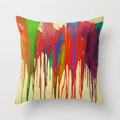 Funky Bright Paint Drip Design Fabric Pillow Cover by TheArtwerks fbd91e4e9