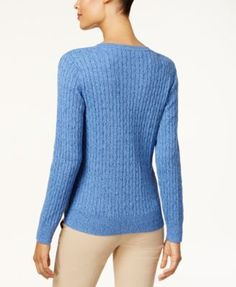 Karen Scott Cotton V-Neck Cable-Knit Sweater, Created for Macy's - Purple XXL