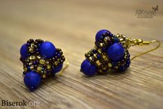 Beaded Bead Earrings - FREE Photo Tutorial by Alla Kovalenko. Use: Czech seed beads 10/0, 8/0 and 6/0 - 10g of each, 10 round beads 8mm. In Russian (translate), good pictures