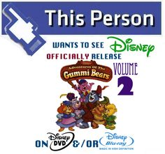 "Share this Campaign Tile on your Social Account news feed and help create buzz for #AdventuresOfTheGummiBears on DVD/Blu-ray!  Also make sure to sign our ""Disney Afternoon-era on DVD"" petition today!"