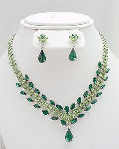 emerald wedding jewelry | Swarovski Rhinestone Vintage Style Necklace and Earrings Set