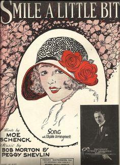 "1925 "" Smile A Little Bit "" Art Deco Pretty Girl Cover Art Vintage Sheet Music"