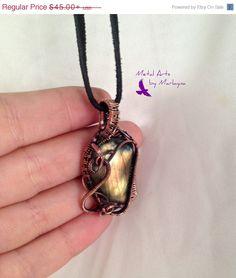 Yellow Flash Labradorite Gemstone Necklace Wire Wrapped Pendant Copper Wire  Wirewrap Bohemian Hand Wrapped SteampunkValentine's Day Gift
