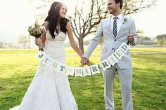 JUST MARRIED rustic photo prop banner  paper garland by liddabits, $33.99