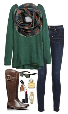 """""""plaid scarf"""" by kaley-ii � liked on Polyvore featuring rag & bone, H&M, Tory Burch, Ray-Ban, Marc Jacobs, Bobbi Brown Cosmetics, Kate Spade and NARS Cosmetics"""