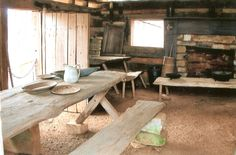 Log cabin Museum of Appalachia TN  love the sawbuck table made from a slab
