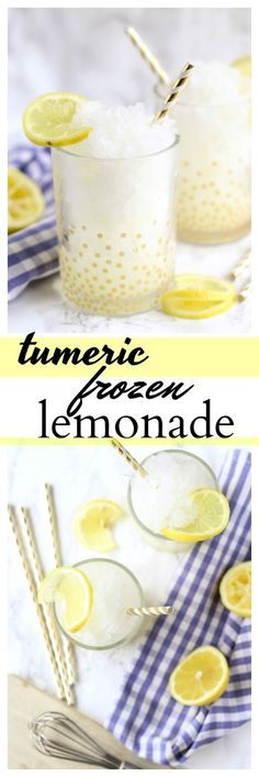 Turmeric Frozen Lemonade - Life a Little Brighter Icy lemonade with a Tumeric boost, perfect for summer! Enjoy a glass, with the added benefit of Tumeric. Cheers to warmer weather! Fresh Tumeric Recipes, Watercress Recipes, Saffron Recipes, Rutabaga Recipes, Qinuoa Recipes, Drink Recipes, Coffe Recipes, Jucing Recipes, Yogurt Recipes