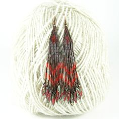 Hidden passion  Long ethnic style bugle bead by Taurielscraft, $22.00,  #beadwork, #earrings, #native