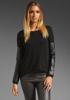 Generation Love - Bobo Italian Faux Leather Sleeve Sweatshirt in Black