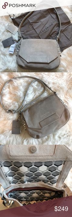 New Liebeskind Berlin Grey Studded Suede Bag This hyena grey bag can be  worn as a 3cb19818c432e