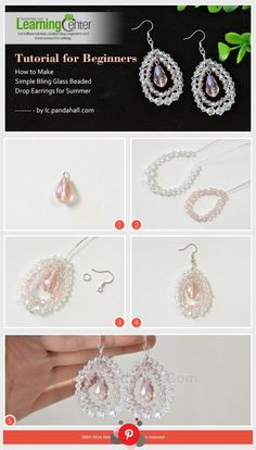 Glass beads are frequently used in summer jewelry diy projects. Today's tutorial is about making simple bling glass beaded drop earrings. Bling Glass Beaded Drop Hoop Earrings - Just with some glass beads,earring hooks,you can finish the bling glass bead Simple Earrings, How To Make Earrings, Beaded Earrings, Earrings Handmade, Hoop Earrings, Pearl Earrings, Jewelry Making Tutorials, Jewelry Making Beads, Diy Jewelry For Beginners