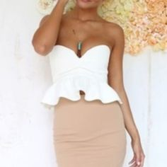 Sabo Skirt Crop Top Peplum Sabo Skirt Crop Top Peplum! White and zipper in the back. It's padded! It is a size 2 but it runs very small. It's new with tags. Sabo Skirt Tops Crop Tops