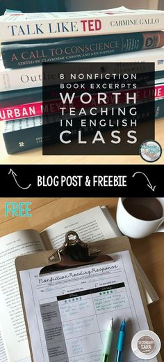 Post: 8 Nonfiction Books you can EXCERPT for a middle or high school English class (with FREE reading response activity! Teaching Literature, Teaching Writing, Teaching English, Teaching Ideas, Teacher Resources, Efl Teaching, Teaching Secondary, Teaching Biology, Teacher Blogs