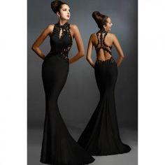 Ropa Damas sexy vestido sin mangas de estilo largo y elegante de color  negro con encaje en forma de sirena