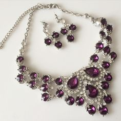 Glam Statement Necklace Set Amethyst statement necklace and earrings Moonlight Tabu Jewelry Necklaces