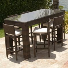 Beau Dumont 7 Piece All Weather Bar Height Dining Set By Leisure Select