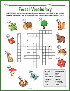 Free Printable Forest Vocabulary Crossword Free Printable Forest Vocabulary Crossword,practicas ingles Use this forest vocabulary crossword worksheet to introduce or reinforce a unit with your ELA or ESL students. Learning English For Kids, English Lessons For Kids, English Worksheets For Kids, English Activities, Word Puzzles For Kids, Printable Crossword Puzzles, English Writing Skills, Vocabulary Worksheets, Camping Crafts