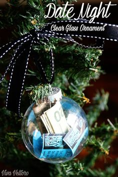 Super cute DIY gift idea for your husband or boyfriend. Make them a date night ornament. You've got to see these ideas. Diy Christmas Ornaments, How To Make Ornaments, Diy Christmas Gifts, Holiday Crafts, Christmas Time, Christmas Bulbs, Christmas Ideas, Holiday Ideas, Christmas Traditions