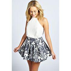 Boohoo Mila Box Pleat Skater Skirt ($22) ❤ liked on Polyvore featuring skirts, navy, plaid midi skirt, plaid skirt, midi skirt, navy blue skirt and flared midi skirt