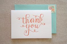Thank You Letterpress Card by ParrottDesignStudio on Etsy, $4.00