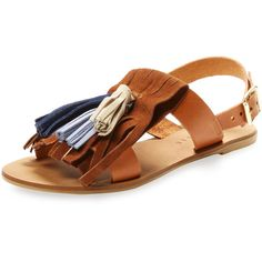 Alex + Alex Women's Fringe Tassel Sandal - Cognac - Size 5 ($69) ❤ liked on Polyvore featuring shoes, sandals, cognac, flat leather sandals, ankle strap flat sandals, fringe flat sandals, ankle tie flat sandals and leather sandals