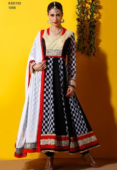 Colour: Black, White Collection : KSD102 Top Fabric : Pure Georgette Sleeves Fabric : Georgette Bottom Fabric : Santoon Dupatta Fabric : Nazneen Work : Embroidered Style : Semi Stitched  Buy At Just Rs. 2099