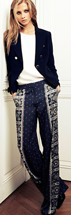 @MANGO - Contrasted printed palazzo trousers