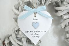 Personalised Baby Boy Heart - Divine Shabby Chic
