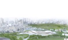 Among the eleven finalists that were announced in the international design competition the 2020 Olympic Stadium proposal of SANAA and Nikken Sekkei for the New National Stadium Japan was really appreciated among Japanese. Sou Fujimoto, Rem Koolhaas, Tadao Ando, 2020 Olympics, Tokyo Olympics, Norman Foster, Architecture Images, Architecture Drawings, Osaka