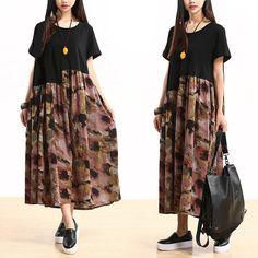 Women summer Cotton linen dress- Buykud-