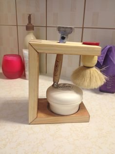Hind shaving stand with maple splines. Side view