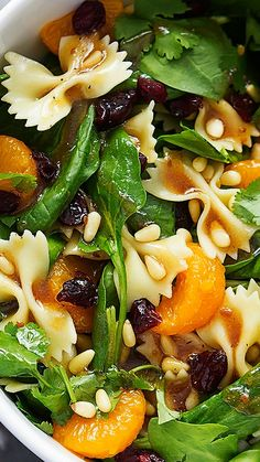 Mandarin Pasta Spinach Salad with Teriyaki Dressing ~ this salad is easy, quick, healthy, and tossed in the most addictive teriyaki vinaigrette dressing!