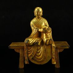 Chinese Gilt Gold Bronze Sitting Buddha Statue