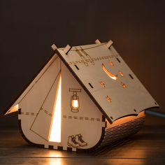 Tent Lamp (mains powered) Laser Cutter Ideas, Laser Cutter Projects, Cnc Projects, Woodworking Projects, Woodworking Shop, Lampe Laser, Laser Cut Lamps, 3d Laser Printer, Led Panel Light